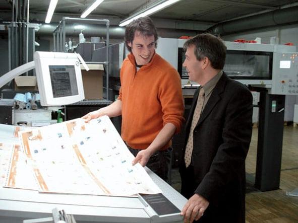 Benjamin Sigmund (links), Metzgerdruck, und Jens Peter Gieck, Produktmanager Prinect bei Heidelberg