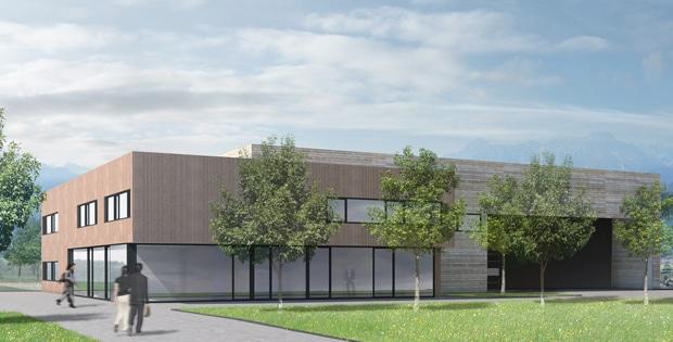 Die neue Produktionhalle soll komplett aus Holz errichtet werden. Das Verwaltungsgebäude wird ein massiver Betonbau mit einer Fassadenverkleidung aus Holz.