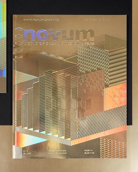 Die März-Ausgabe des Designmagazins Novum war etwas ganz Besonderes. Es erschien ganz in Gold und reich verziert mit Mustern, feinen Strichen und Strukturen, Relieflackierungen und stellweise mit regenbogenfarben-schimmernden Folie versehen.