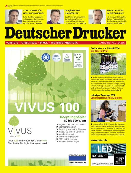 Deutscher Drucker 9/2018, Themen-Schwerpunkt: Druckweiterverarbeitung
