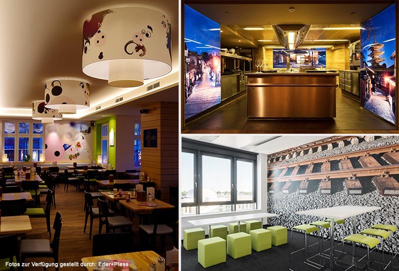 Die drei Projekte haben die Druck&Medien-Awards-Jury überzeugt: Die Wandgestaltung in der neuen Euopazentrale der Deutschen Bahn in Berlin (unten rechts), die Neugestaltung der Altonaer Filiale der Schweiske Restaurants (Bild links) und das Innenraumdesign mit Backlit-Dias im Restaurant Nikkei Nine (Bild oben rechts).