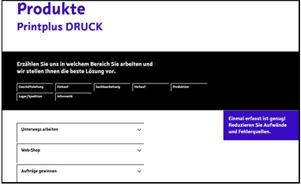 Management Informationssystem Printplus Druck mit neuer Homepage