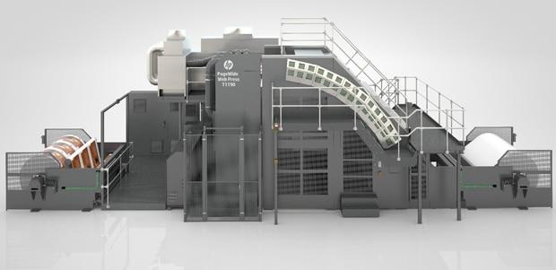 Die HP Pagewide T1190 ist das neue Flaggschiff der 2,8 m breiten Inkjetdruckmaschinen von HP für den digitalen Wellpappen-Preprint.