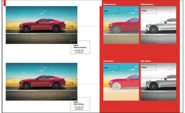 Farbmanagement: Die neue Lösung »InkTune« von Agfa Graphics baut auf der Technologie des Unbuntaufbaus (GCR) auf – mit dynamischer Farbbegrenzungssteuerung und dynamischer Verknüpfung mit Geräteprofilen.