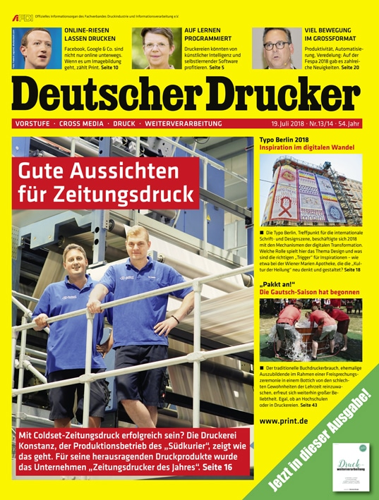 Ab sofort verfügbar: Deutscher Drucker 13-14/2018 mit dem Schwerpunktthema Drucktechnik und Automatisierung.