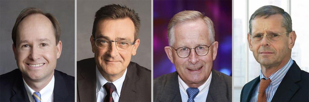 Von links: Der neue CEO der Felix Schoeller Group Hans-Christoph Gallenkamp, sein Vorgänger und jetzt stellv. Beiratsvorsitzender Dr. Bernhard Klofat, der jetzige Ehrenbeiratsvorsitzender Hans-Michael Gallenkamp sowie Prof. Dr. Andreas A. Georgi, der der neue Beiratsvorsitzende ist.