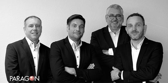 Das neue Management-Board der Paragon Group für Deutschland: Philippe Coquelet, CFO, Thomas Simon, CEO, Alexander Schäfer, CSO, Thomas Sperl, CTO.