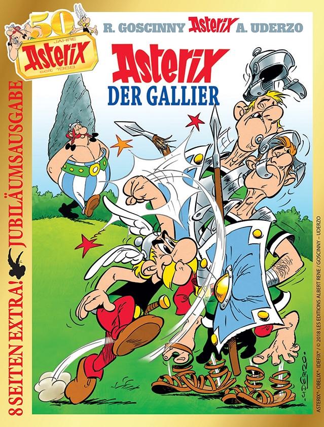 """Zum 50. Geburtstag erscheint Anfang Oktober der erste Band """"Asterix der Gallier"""" als Sonderedition mit acht zusätzlichen Seiten."""