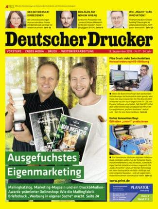 Die neue Ausgabe von Deutscher Drucker (Heft 17/2018) ist ab sofort erhältlich.