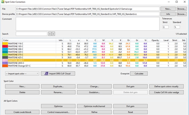 Spot Color Correction im neuen Farbmanagement-Tool Oris X Gamut.