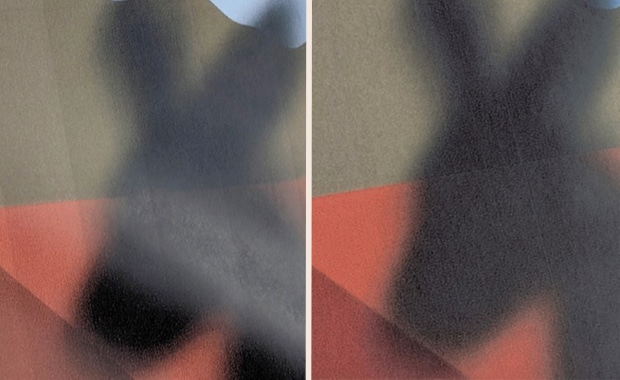 Streifenbildung bei sensiblen Jobs im Inkjet-Großformatdruck : vorher (links), mit »Print Flat« (rechts).
