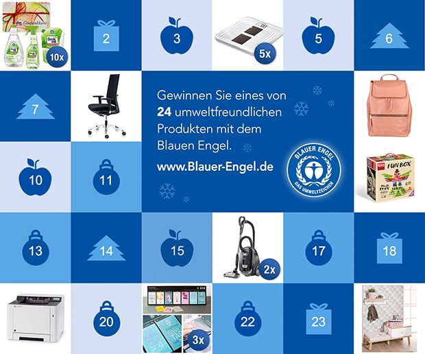 Das Umweltzeichen Blauer Engel verlost täglich umweltfreundliche Produkte verschiedenster Art. Mit dabei ist in diesem Jahr auch ein Jahreskalender mit Biofarben, der von Studierenden der HTWG Kontanz konzipiert und gestaltet und bei Druckpartner produziert wurde.