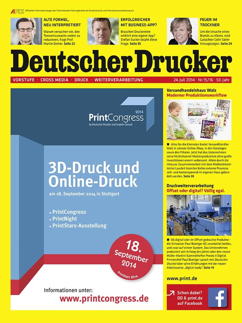 Produkt: Deutscher Drucker 15-16/2014 Digital