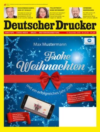 Die Titelseite von Deutscher Drucker 25-26/2018 ist nicht nur digital gedruckt, sondern auch individuell mit Spotlack und Folie veredelt. Dadurch ist jeder Umschlag ein echtes Unikat.