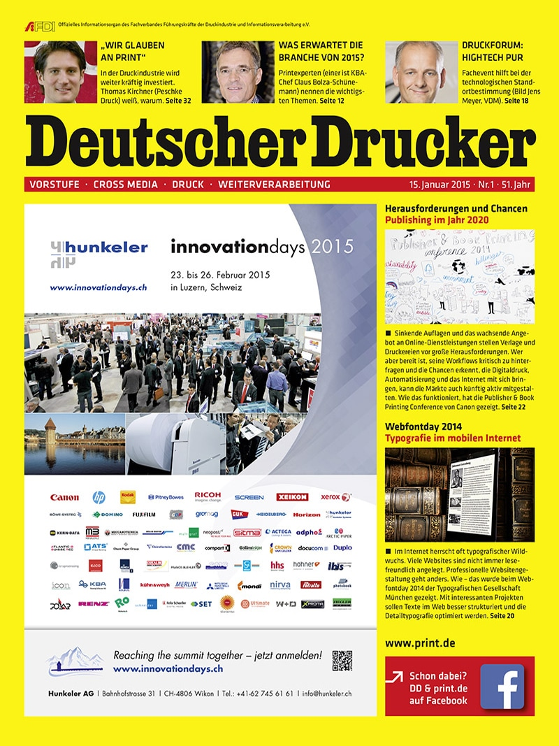 Produkt: Deutscher Drucker 1/2015 Digital