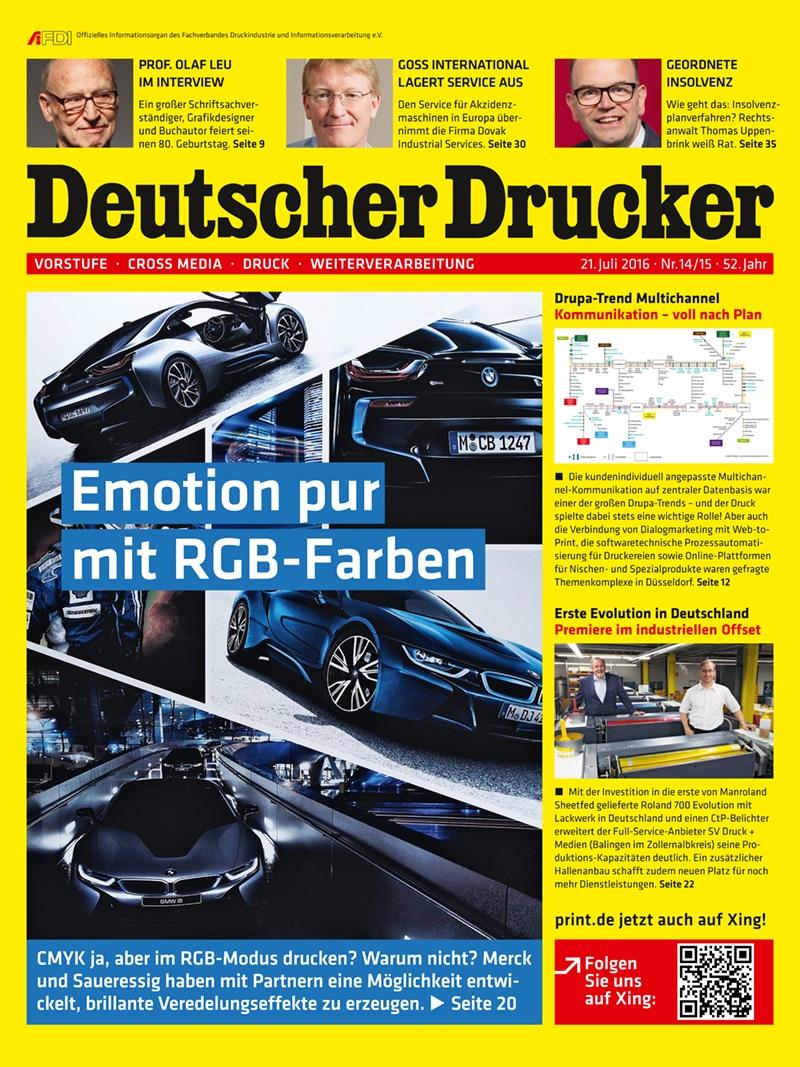Produkt: Deutscher Drucker 14-15/2016 Digital