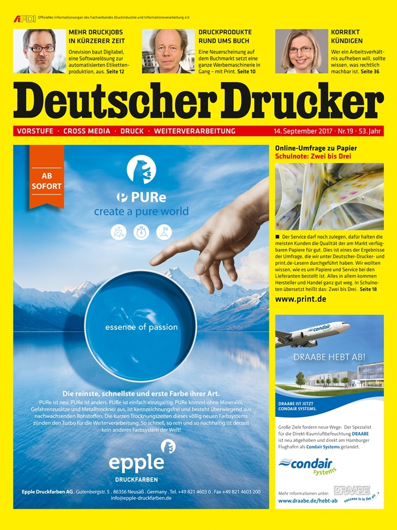 Produkt: Deutscher Drucker 19/2017 Digital