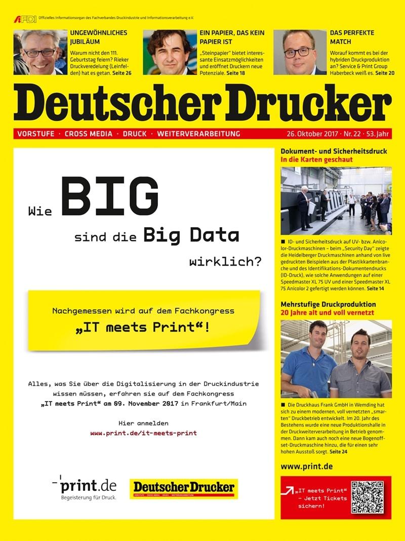 Produkt: Deutscher Drucker 22/2017 Digital