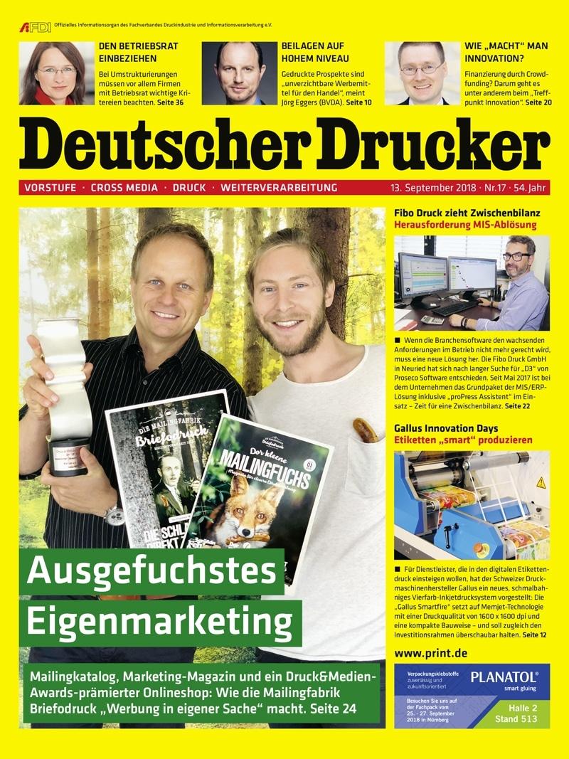 Produkt: Deutscher Drucker 17/2018 Digital