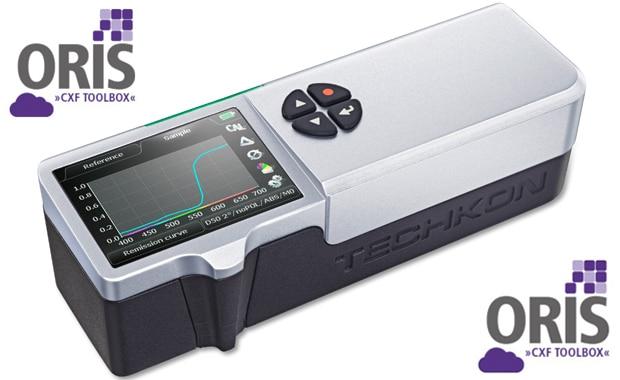 Farbmanagement: Das Spektral-Densitometer Techkon Spectrodens ist ab sofort in die Oris CxF Toolbox integriert.