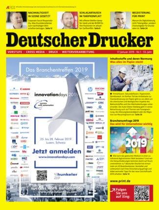 Deutscher Drucker 2/2019 startet mit der großen Branchenumfrage und jeder Menge wertvoller Tipps von Branchenexperten in das neue Jahr.