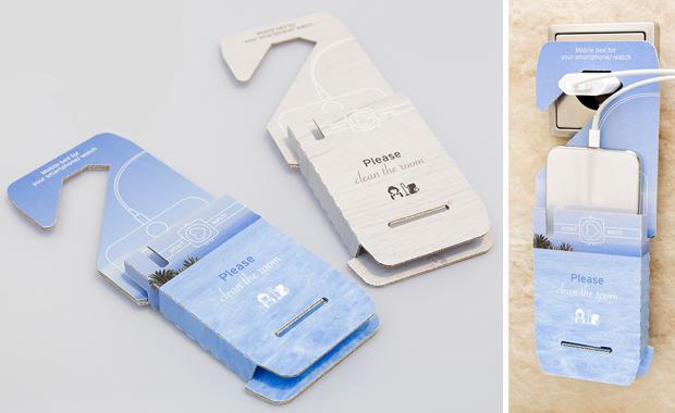 Der Verpackungsspezialist Thimm hat einen multifunktionalen Werbeartikel für die Hotelbranche entwickelt: Ladetasche und Türschild in einem und aus Wellpappe.