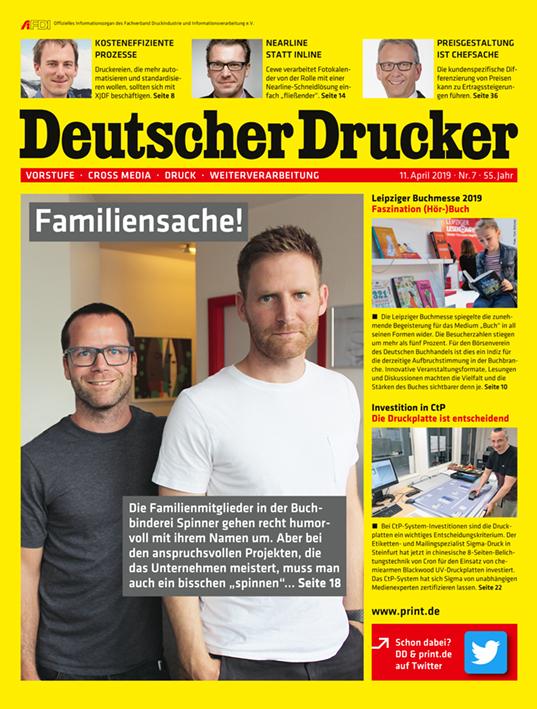 Druckweiterverarbeitung: Deutscher Drucker Nr. 7/2019 ist ab sofort im print.de-Shop erhältlich.