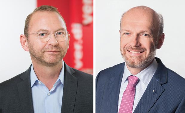 Ergebnis erzielt in der der achten Verhandlungsrunde: Die Vertreter von gewerkschaft und arbeitgeberverband, Frank Werneke (Verdi) und Sönke Boyens (BVDM).