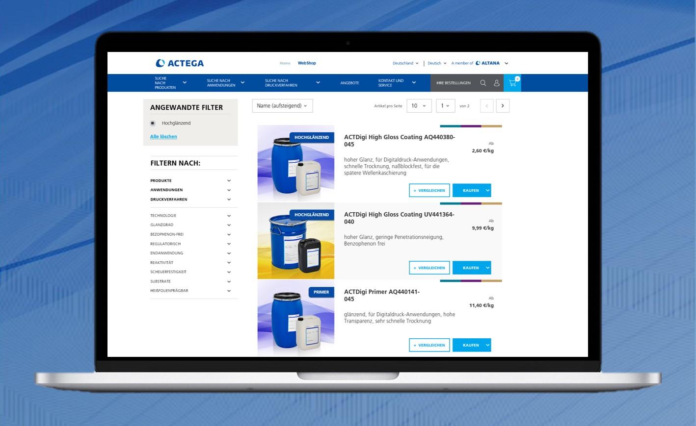 ACTEGA präsentiert neuen Webshop