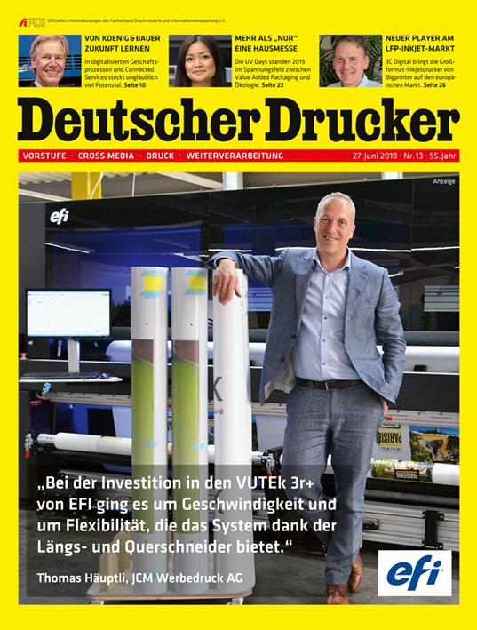 Deutscher Drucker Nr. 13/2019 (mit Schwerpunkt Verpackungsdruck) ist ab sofort im print.de-Shop erhältlich.