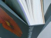 """Raffiniert gestaltet ist der Einband des Kunstbuchs """"Jörg Immendorff. Für alle meine Lieben"""".   Der mittig gefalzte Umschlag, unten und an den Seiten offen, wird zur Leinwand: außen ist er bedruckt mit zwei farbenprächtigen Blüten, innen mit einer bemalten Bronzeskulptur Immendorffs."""