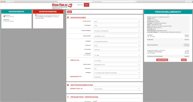 Visityou.de Digitaldruckrechner Digitaldruck Kalkulation