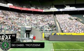 Borussia Mönchengladbach Aktion Sei dabei Trotzdem Pappkameraden Großformatdruck