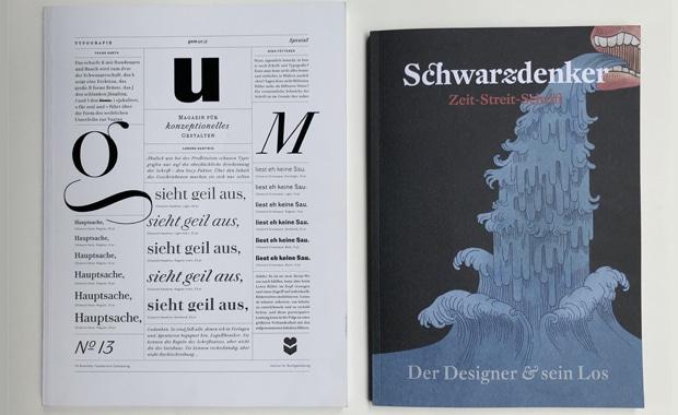 Typografie: Schwarz-weißer Diskurs: »gum« feiert das typografisch-bildhafte Experiment, »Schwarzdenker« zelebriert die sprachliche Reflexion – inspirierend sind beide!