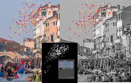 Automatisierung: Die Amendo-Extension »Bilder zusammenführen« erkennt Photoshop-Kanäle und nutzt diese als Masken beim Zusammenführen zweier Bilder.