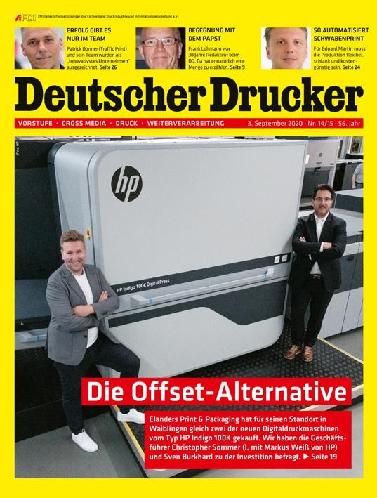 Online-Druckerei: Deutscher Drucker Nr. 14-15/2020 liegt dieser Tage in Ihrem Briefkasten oder kann im print.de-Shop bestellt werden.