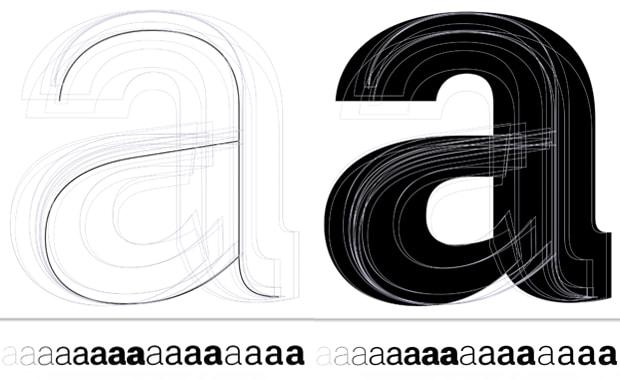 Typografie: Zwölf Master der Schrift Case (Fontwerk), zu sehen: jeweils 16 statische Instanzen zwischen fett und fein.
