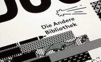 Buchverlage: Klare Linien für den Kometenschweif, die Textzeile linksgeneigt, also »anders« – das Signet wurde 2011 von BANK™ überarbeitet – Detail aus einem Werbeplakat.