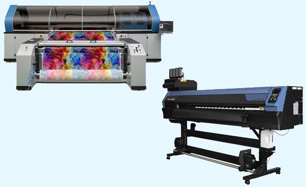 Mit dem Tiger-1800B MkIII (oben links, industrielle Anwendungen) und dem TS100-1600 (Einsteigersystem) bringt Mimaki Europe zwei neue Textildruck-Systeme auf den Markt.