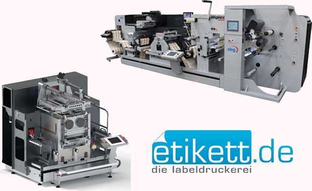 Investitionsoffensive bei »etikett.de«: Seit Ende letzten Jahres verstärken Big Foot (unten links) und Fast Track die Digitaldruck-Weiterverabeitung beim Online-Etikettendrucker aus Föhren.