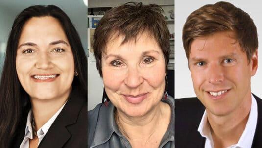 Database Publishing: Monica Sawhney, CFO bei der ZEIT-Verlagsgruppe; Iris Mainka, CvD in der ZEIT-Printredaktion; Torsten Bastian, Director Production & IT.